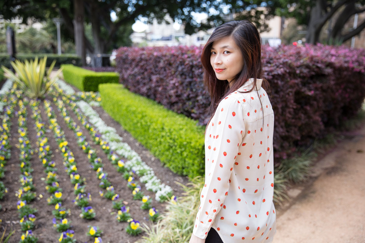 Rows of strawberries on my shirt, rows of flowers in a flower bed