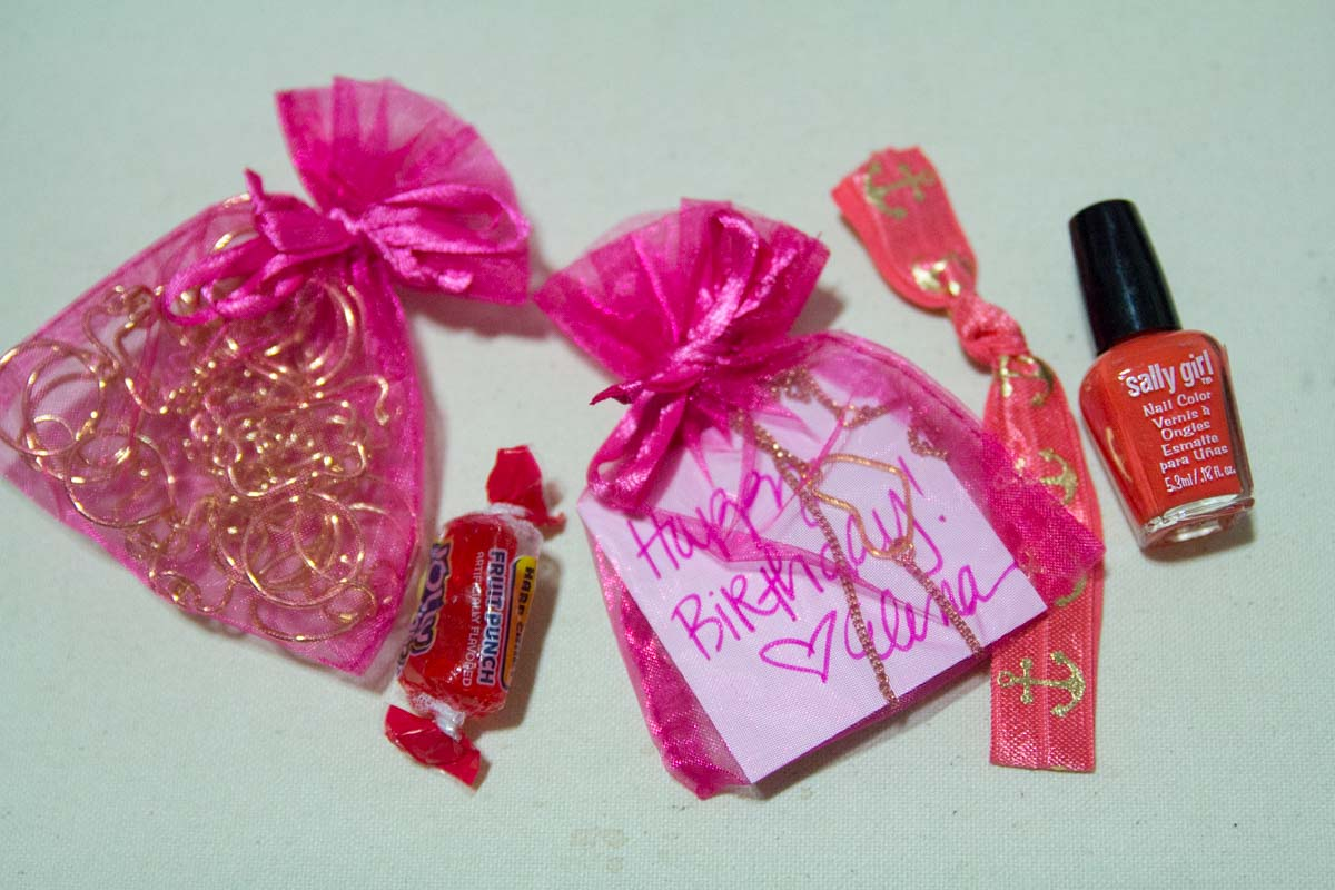 The organza bags and other contents