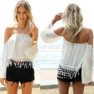 2015-White-Black-Low-Back-summer-Blouse-Crop-Top-Off-Shoulder-Blouse-Chiffon-Slash-Shirt-12