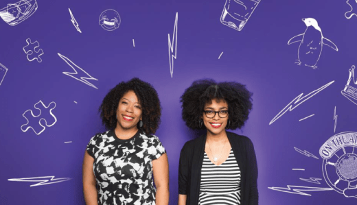 Image: Tracy and Heben standing in front of a purple background with white chalk drawings around them Photo: BuzzFeed