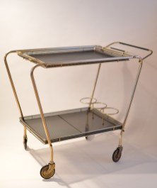 Bar Cart Trolley Drinks Plated Brass 1950s