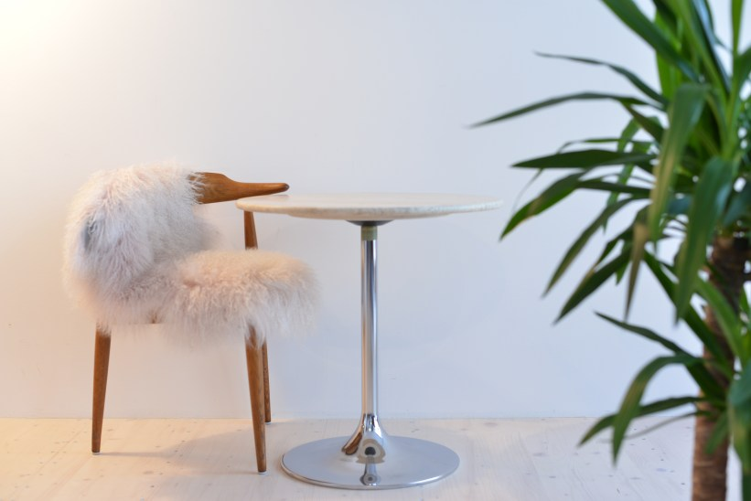 Petite Marble Tulip Table with Chrome Base