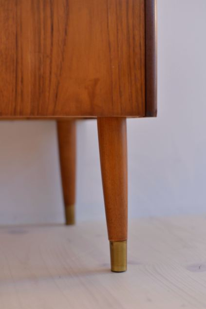 Teak Dresser with Brass Capped Legs