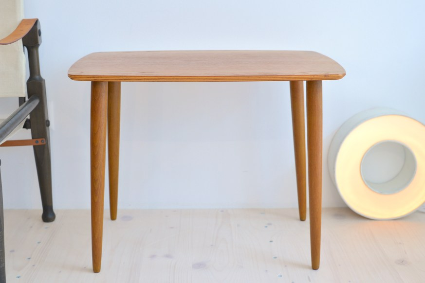 Small Teak Side Table with Beech Legs 1960s