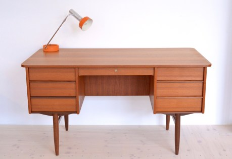 Mid Century Teak Double-sided Desk with Cubby heyday möbel moebel Zürich Zurich Binz