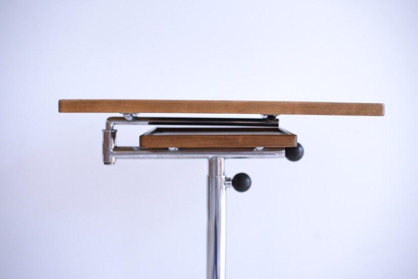 Articulated Occasional Table Francois Caruelle Walnut and Chrome Embru Werke Switzerland 1940s heyday möbel moebel Binz Zürich Zurich