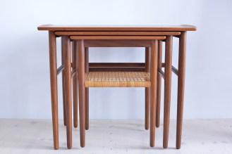 Teak Nesting Table with Cane Shelf Denmark 1960s heyday möbel moebel Zürich Zurich Werkhof Binz