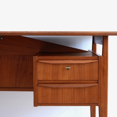 Mid-Century Danish Teak Floating Top Desk by Gunnar Nielsen Tibergaard