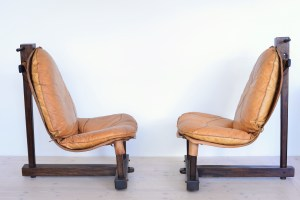 Brazilian Tropical Wood Lounge Chairs Cognac Leather heyday möbel Zürich