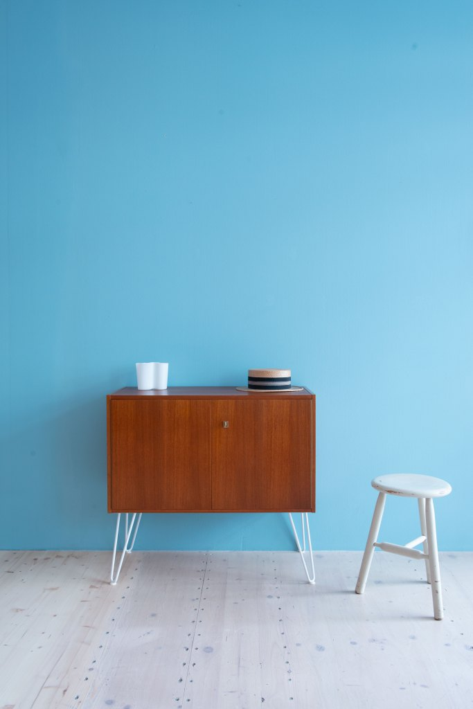 Teak Cabinet with Hairpin Legs Available at heyday möbel.