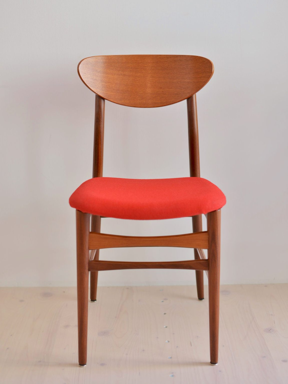 Red Teak and Afromosia Chair Newly Upholstered