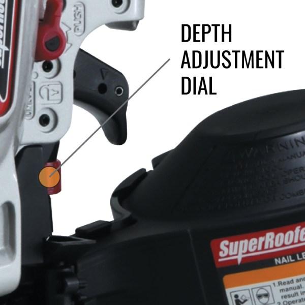 MAX CN445R3 roofing nailer depth adjustment dial