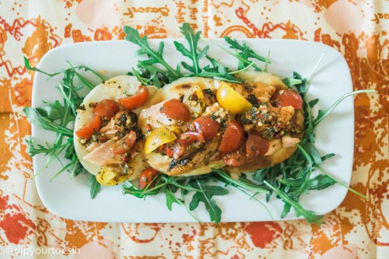 Arepas witth blackened salmon & tomato-basil relish