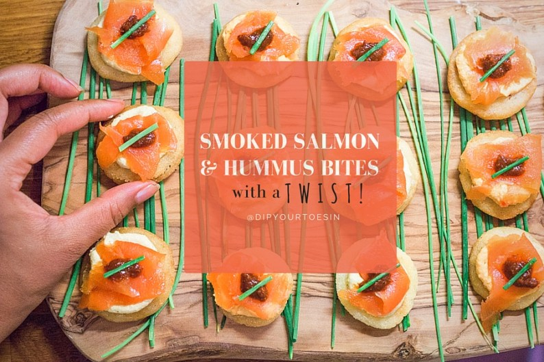Smoked Salmon & Hummus Bites | @dipyourtoesin
