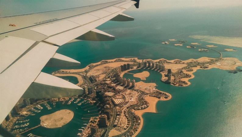 Flying into Doha with Skyline of Pearl Qatar