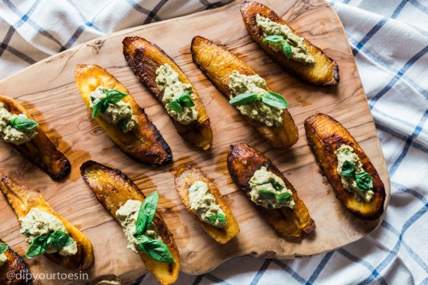 Plantain close up in Seafood Coconut Soup With Plantain Bruschetta and Ginger Pesto, via Chef Watson | by @dipyourtoesin