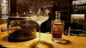 Bergheu hay gin at Hotel Gotthard bar, Gastronomy in Lech, Austria