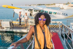 Eulanda in front of the Seawings Cessna Seaplane