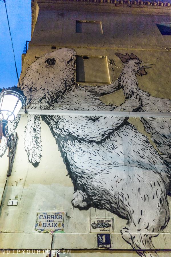 Erica il Cane and Escif | Rabbit and Chicken street art Valencia