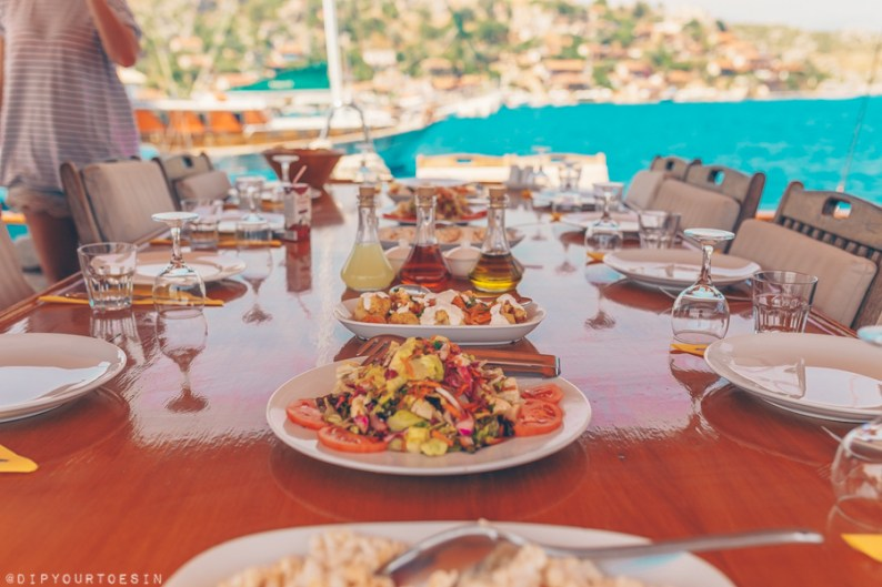 Eating onboard the Nemesis in Southern Turkey