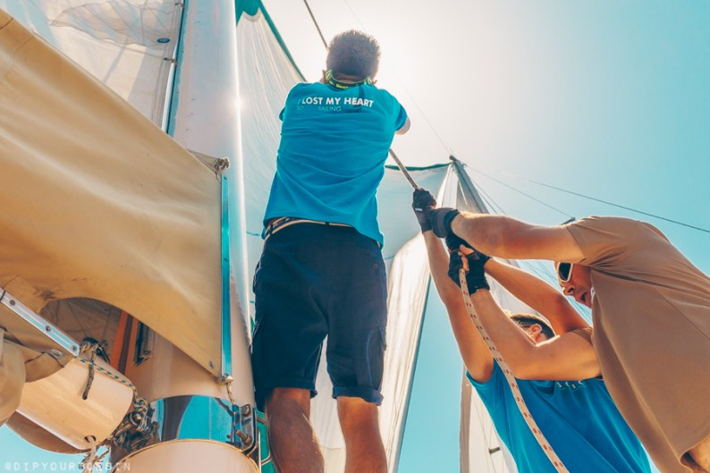 Nemesis crew hoist sails onboard the Nemesis in Southern Turkey