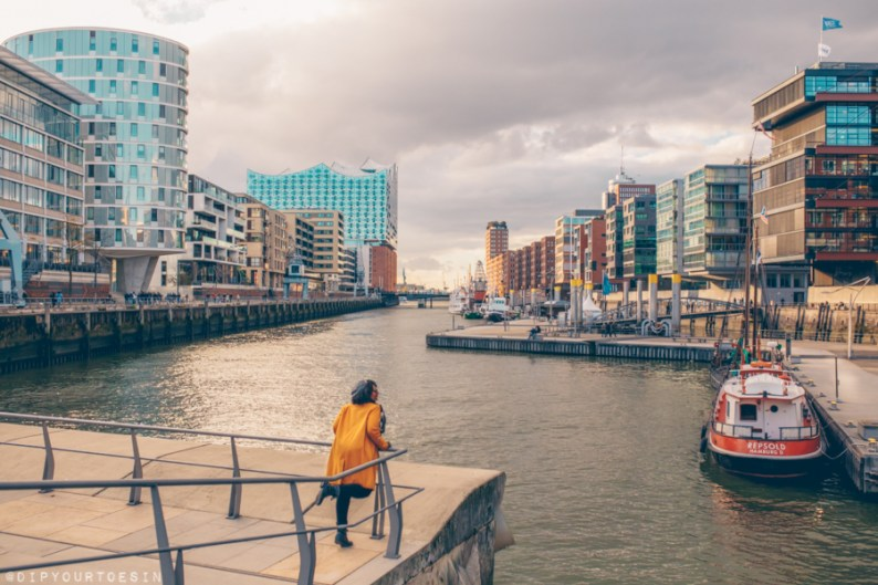Looking over the canal in HafenCity, Hamburg