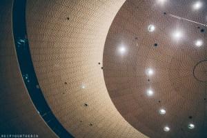 Inside ceiling view of Elphilarmonie, Hamburg