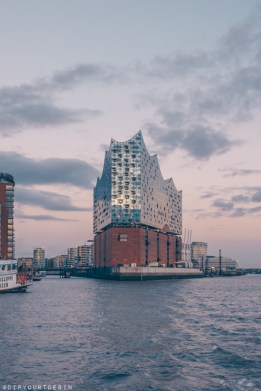 Dusk view from the River Elbe of the Elbphilarmonie concert hall, HafenCity, Hamburg