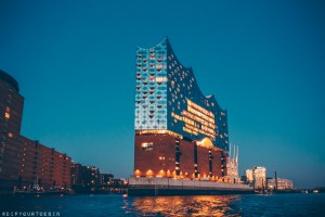 Night time view from the River Elbe of the Elbphilarmonie concert hall, HafenCity, Hamburg | Hamburg photo journal