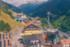 Cable car at Paznaun Ischgl Valley, Austria