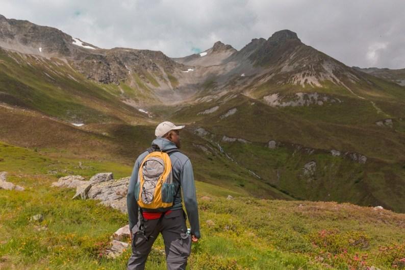Man hiking in Ischgl, Austria