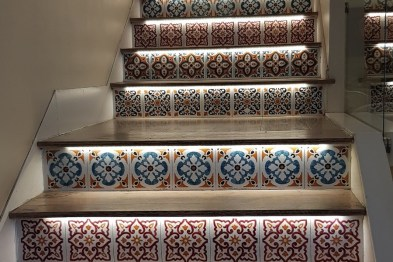 Colourful tiles line steps at Tasting Sicily Enzo's Kitchen