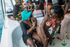 Dancing on Raft up Soca cruise with Annie Benjamin onboard