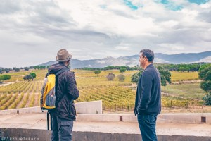 Winery tour listening to Joan Frei, Terra Remota Winery Export Manager