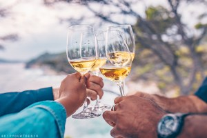 Group toasting with wine glasses along Costa Brava's Coastline