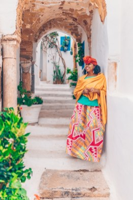 Eulanda standing in an archway in Tunisia
