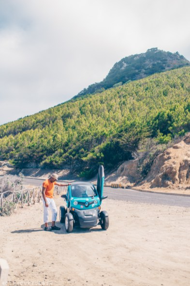 Exploring the north coast of Porto Santo in a Renault Twizzy