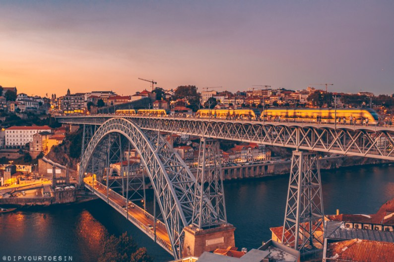Sunset image of the Dom Luis I Bridge that spans the River Douro in Porto