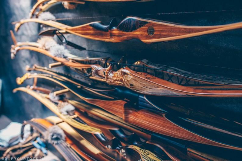 Bows inside archery shop Schosi 3D with Kurt Schossleitner