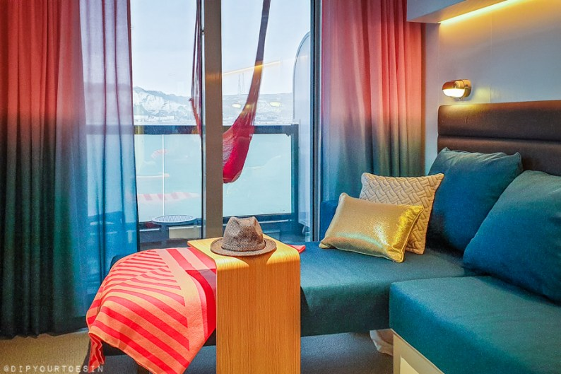 View from seaview cabin onboard Scarlet Lady, Virgin Voyages