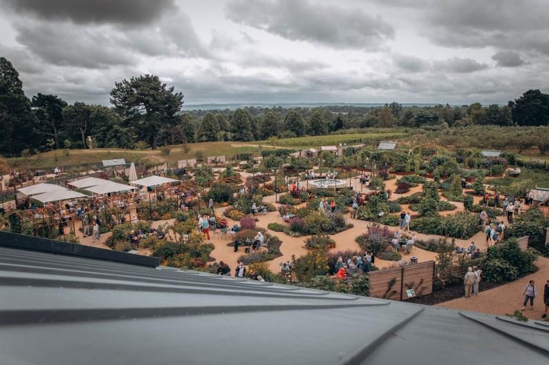 View of World Food Garden from RHS Hilltop at RHS Garden Wisley