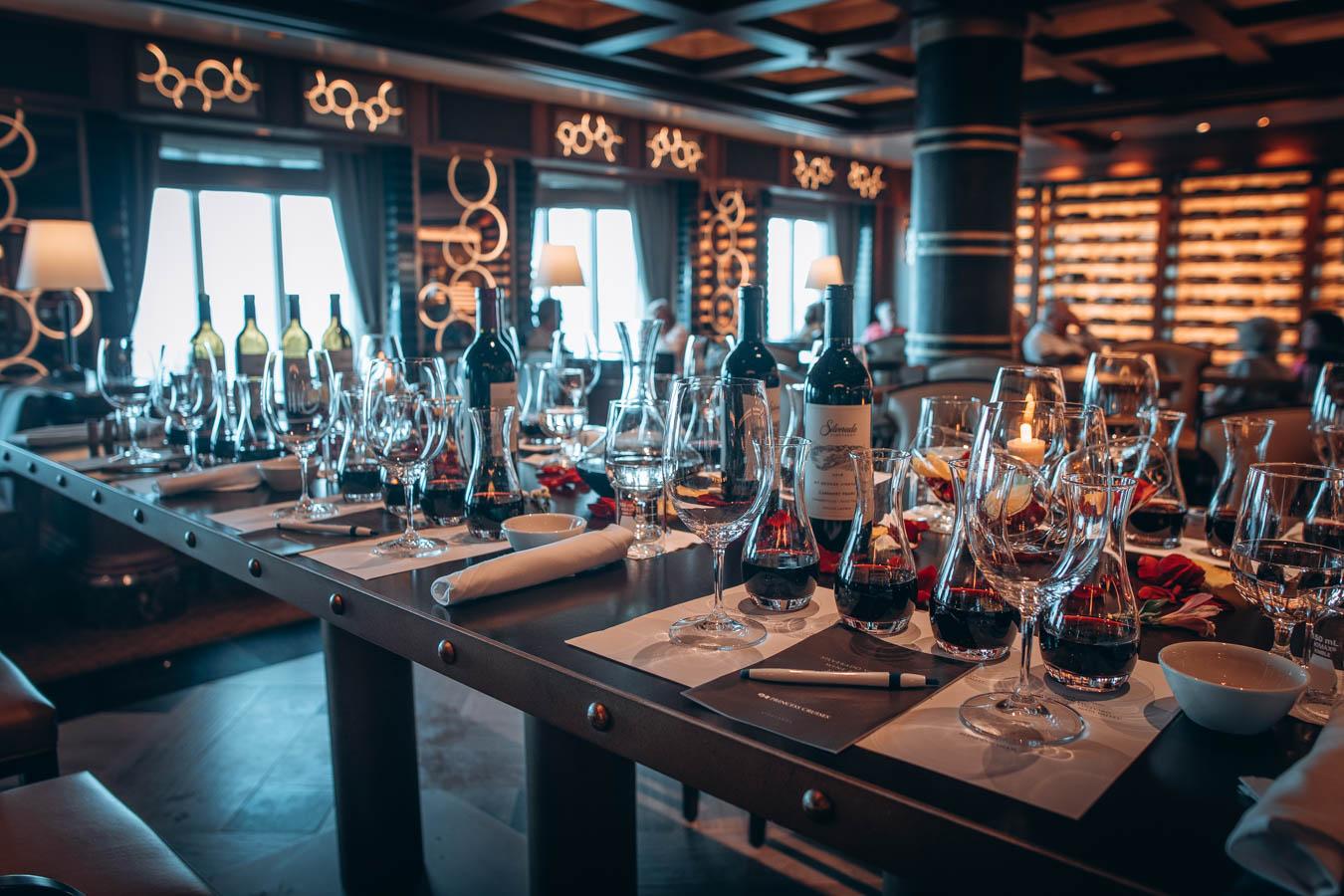 Wine tasting table set up   Onboard activity on Sky Princess