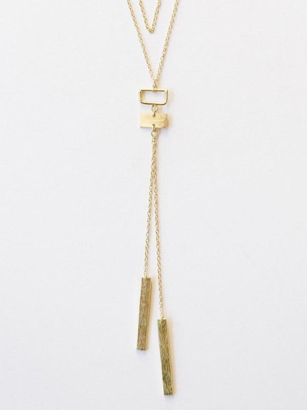 Ethically-sourced stylish Long-chain Gold necklace made of 8.5 - 10.5 inches of brass and cute dangling pendant.