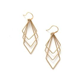 Beautiful ethically-handmade layered paragon dangling earrings made of brass on white background.