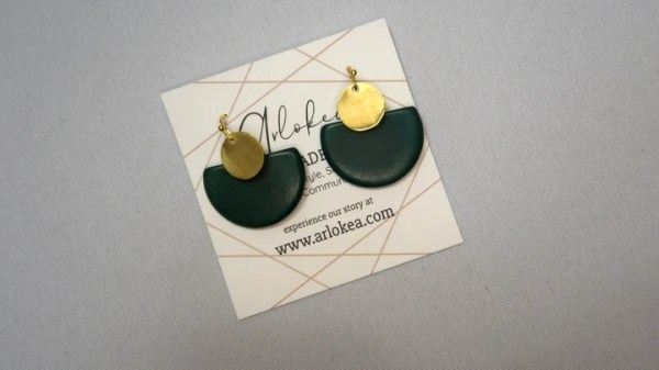 Environmentally friendly dangling Tagua Disc Earrings Made with half circle Green Tagua and gold-colored round brass.