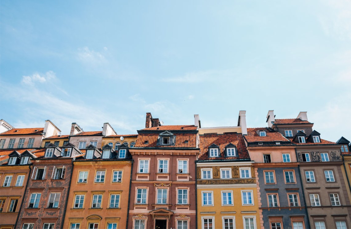 The colourful buildings of Old Town in Warsaw, Poland