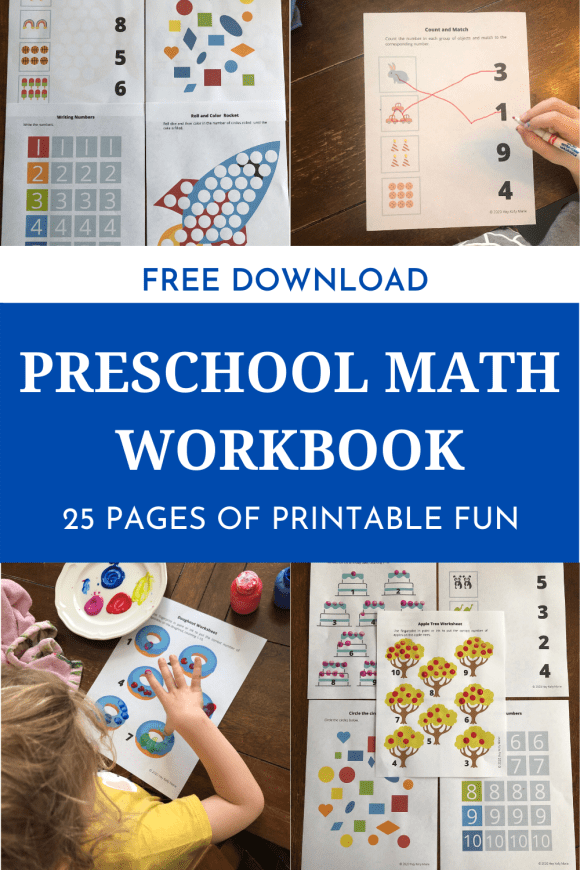 The preschool math workbook contains 25 pages of printable fun.