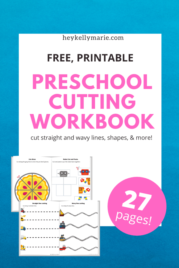Pinterest pin advertising free preschool cutting workbook.