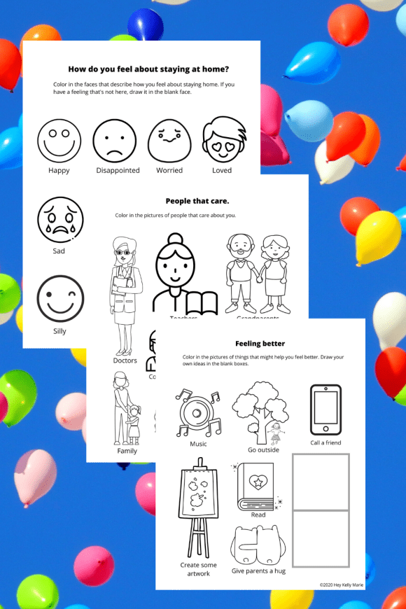 Example pages of the free preschool coloring book to help kids explore their feelings about staying home.