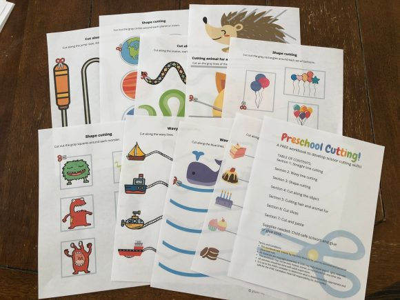 A collection of activities in the preschool cutting workbook.